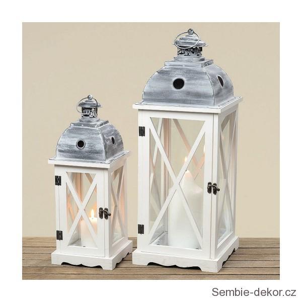 Dřevěné lampy - lucerny Elegance bílé sada 1+1