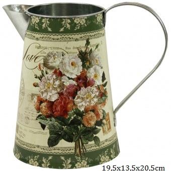 Plechový džbán Růže