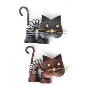 Kovová Kočka na pružině stříbrná