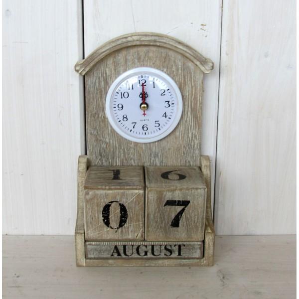 Vtipné dřevěné retro hodiny S kalendářem