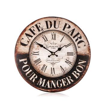 Dřevěné hodiny na zeď Cafe du Parc