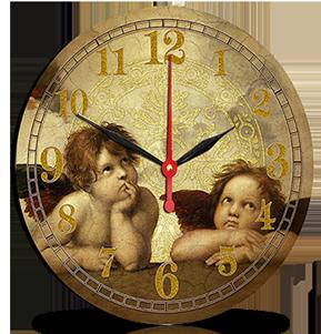 Dřevěné hodiny na zeď Andělé