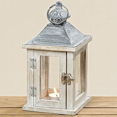 Dřevěná lucerna Home bílá