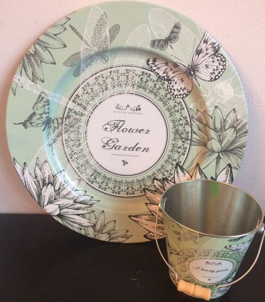 Plechový talíř s kyblíkem Flower garden zelený