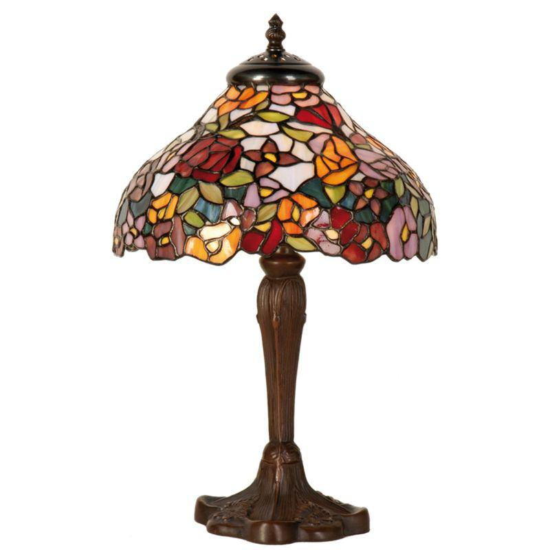 Vitrážová stolní lampa Tiffany Květiny