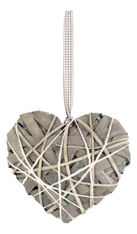 Proutěné srdce šedé s mašlí M