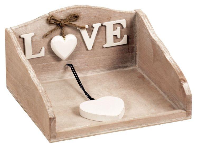 Dřevěný stojánek na ubrousky Love