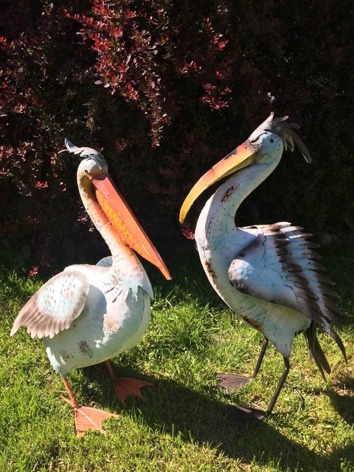 Luxusní kovový pták Plameňák + Pelikán - dekorace na zahradu