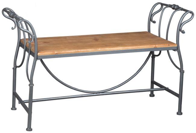 Krásná kovová lavička s dřevěnou deskou