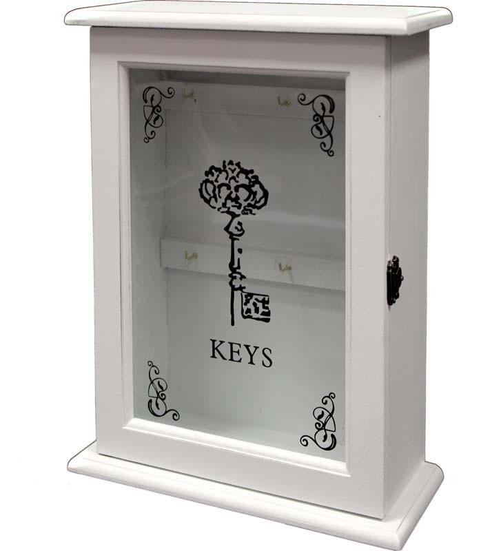 Dřevěná skříňka na klíče bílá -Keys