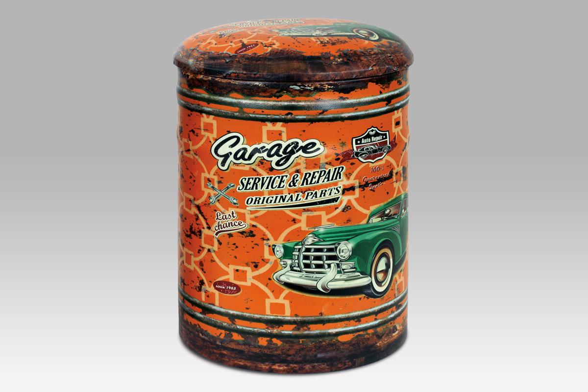 Čalouněný taburet Garage oranžový