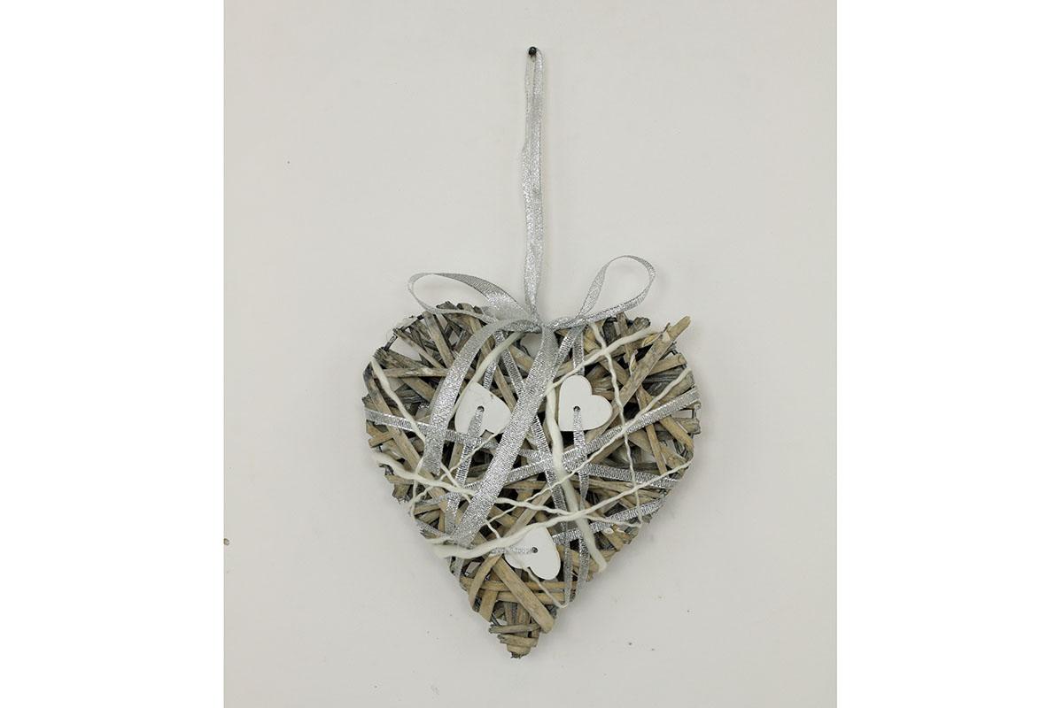 Srdce proutěné šedé se srdíčky M
