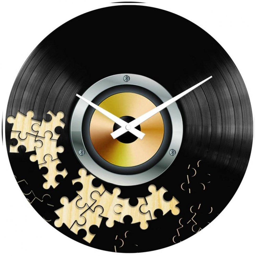 Hodiny na zeď Gramofonová deska puzzle