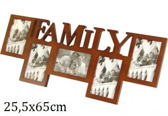 Dřevěný fotorámeček Family hnědý