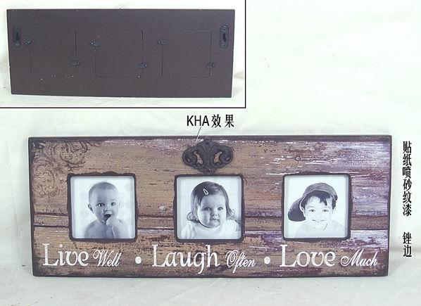 Dřevěný fotorámeček na 3 fotky vintage Grey