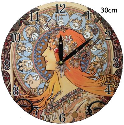 Hodiny na zeď Alfons Mucha - Horoskop