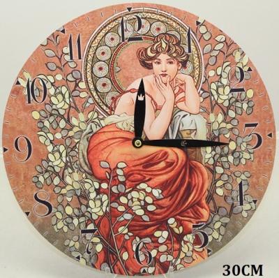 Hodiny na zeď Alfons Mucha - Žena ve větvích