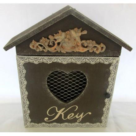 Dřevěná skříňka na klíče - Domeček H poškozeno