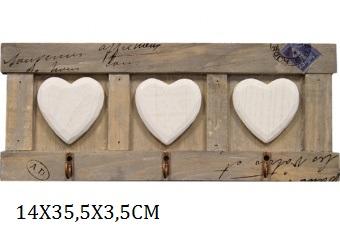 Dřevěný věšák Srdce