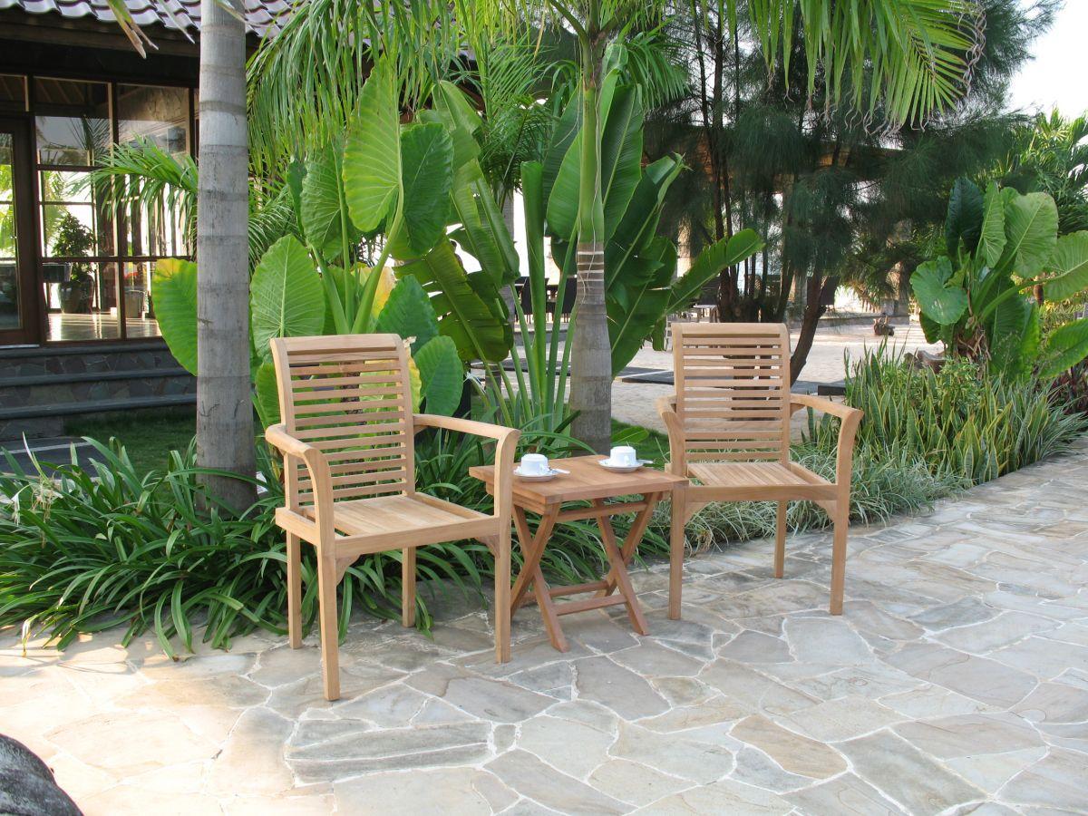 Teaková sestava dvě stohovatelná křesla a stolek