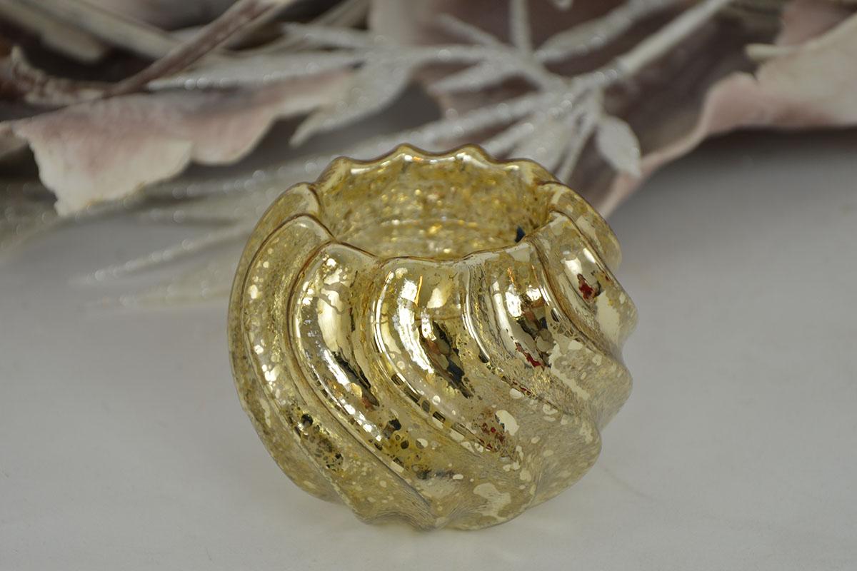 Skleněný svícen - kalíšek zlatý 1+1