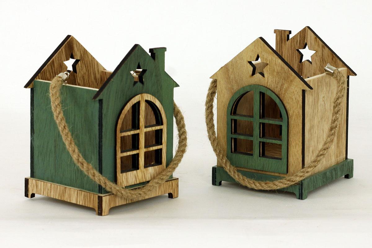 Dřevěný svícen domeček zelený