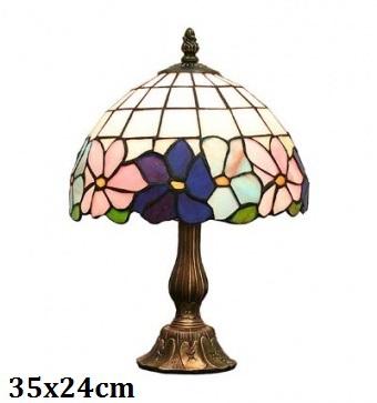 Stolní vitrážová lampa styl Tiffany Lem květiny Modrorůžové