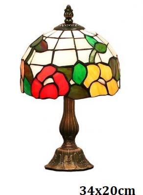 Stolní vitrážová lampa styl Tiffany Lem květiny Červenožluté