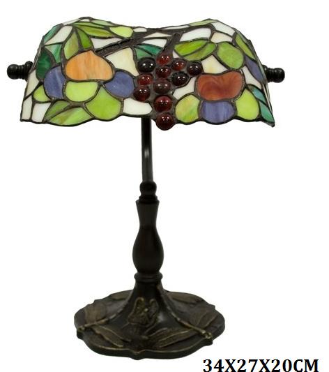 Stolní vitrážová kancelářská lampa styl Tiffany Víno