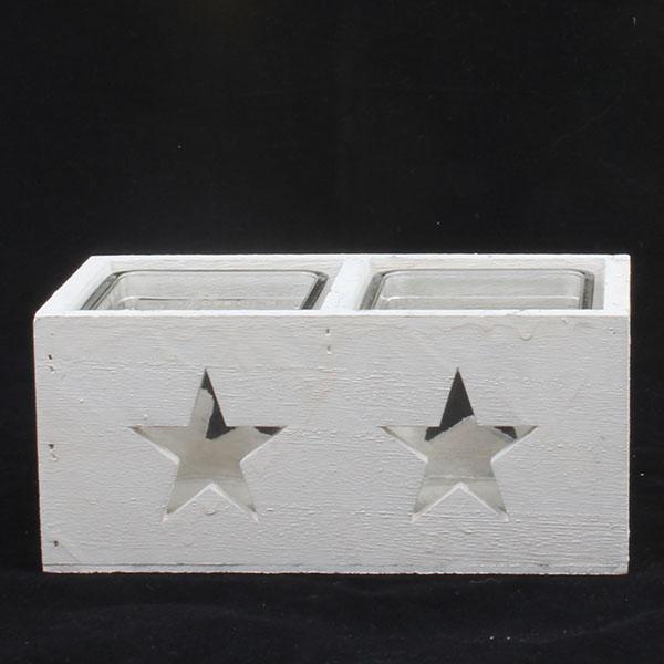 Dřevěný svícen Hvězda bílý na dvě svíčky