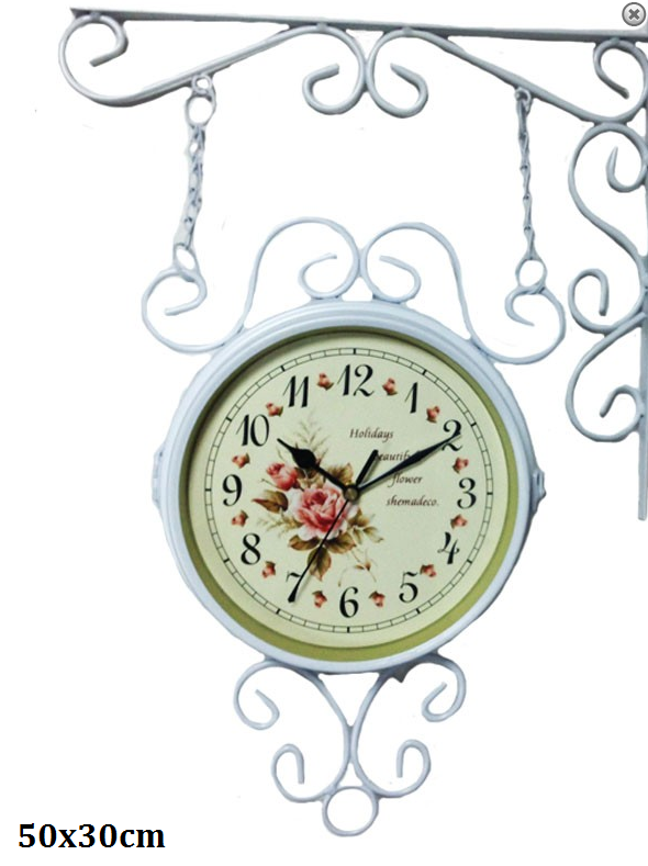 Nádražní hodiny oboustranné Holiday Růže bílé