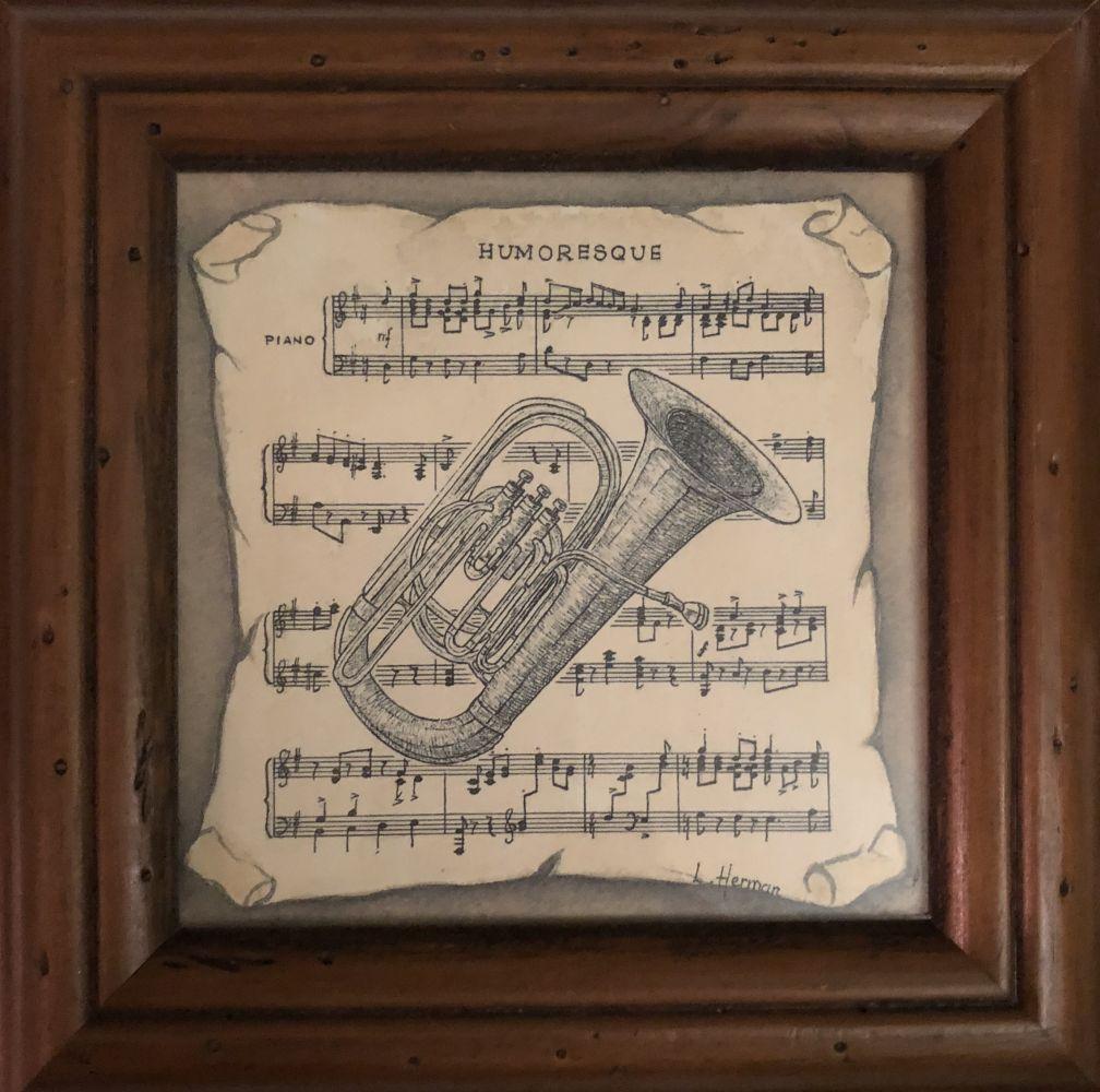 Obrázek na zeď v dřevěném rámu Noty