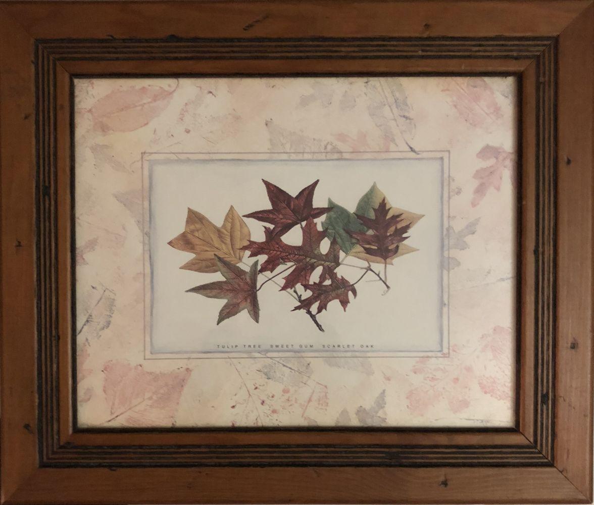 Obrázek na zeď v dřevěném rámu Podzimní listí