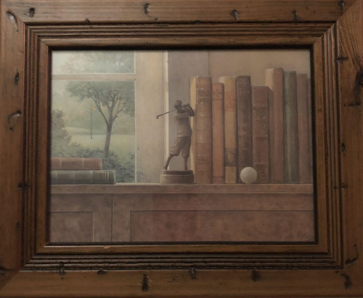 Obrázek na zeď v dřevěném rámu Golfista