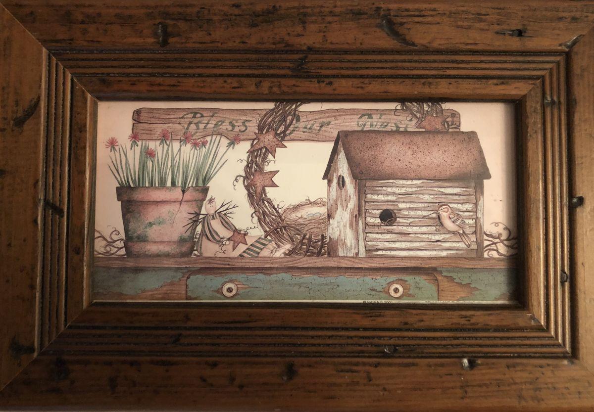 Obrázek na zeď v dřevěném rámu Zahrádka