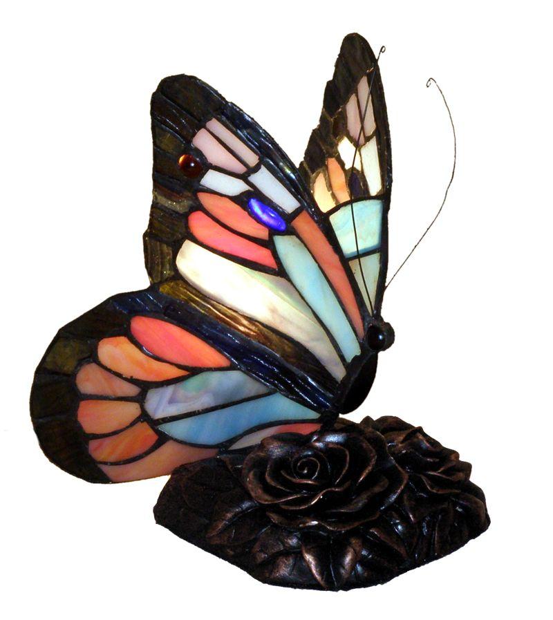 Stolní vitrážová lampa styl Tiffany Motýl Blue