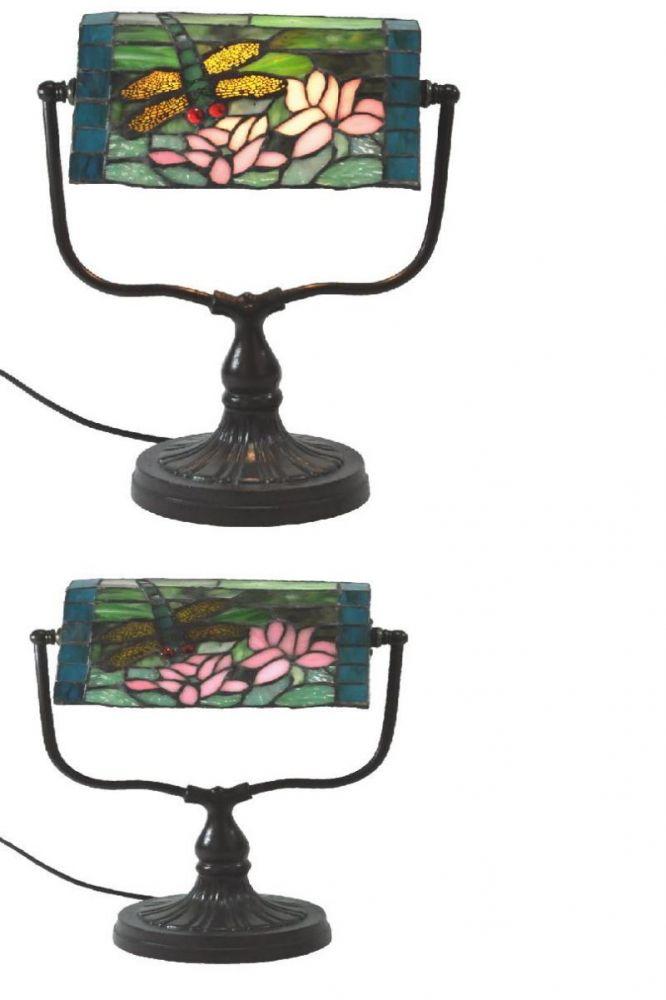 Stolní vitrážová kancelářská lampa styl Tiffany Vážka