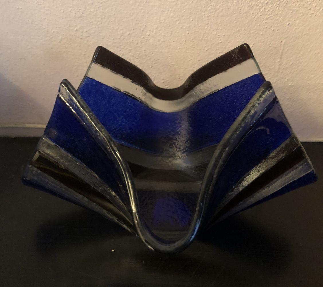 Skleněná mísa - šátek Sabina modrá