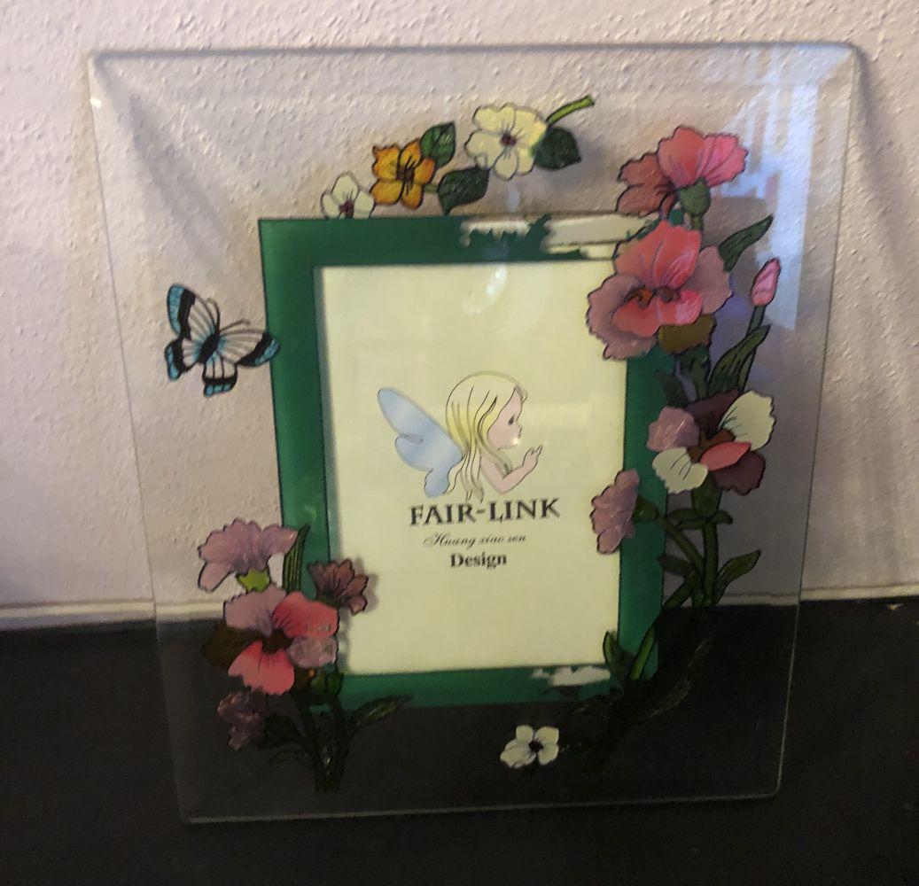 Skleněný fotorámeček Květiny zelený - vadné zboží