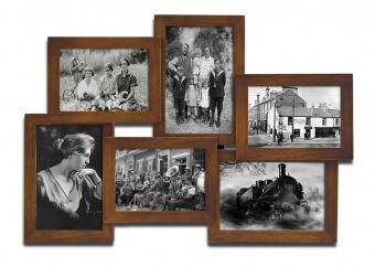 Dřevěný fotorámeček na 6 fotek hnědý
