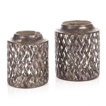 Kovová lucerna děrovaná Silver M