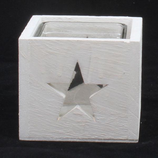Dřevěný svícen Hvězda bílý - ušpiněno