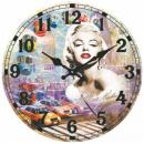 Skleněné hodiny na zeď Marilyn Monroe american car