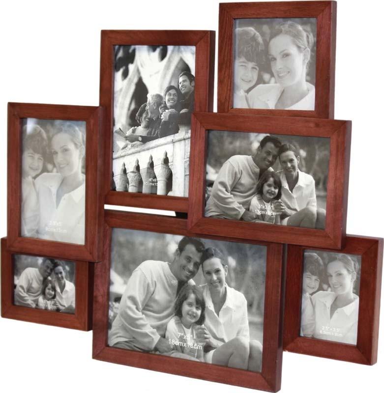 Dřevěný fotorámeček na 7 fotek hnědý - poškozeno
