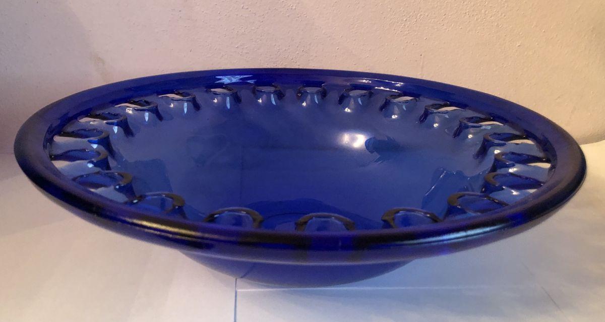 Skleněná mísa - Otvory modrá