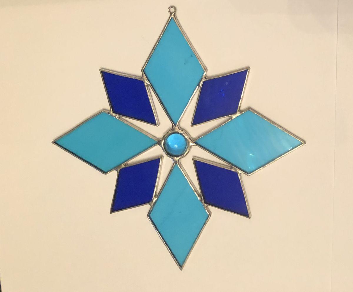 Závěsná skleněná vitráž Hvězda modrá