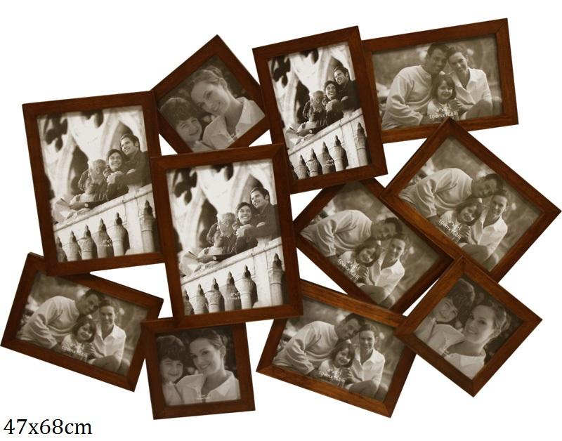 Dřevěný fotorámeček na 11 fotek hnědý