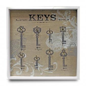 Dřevěný věšák na klíče - Keys car bílý