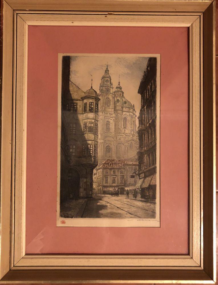 Obraz v původním rámu sign.Kostel svatého Mikuláše V Praze