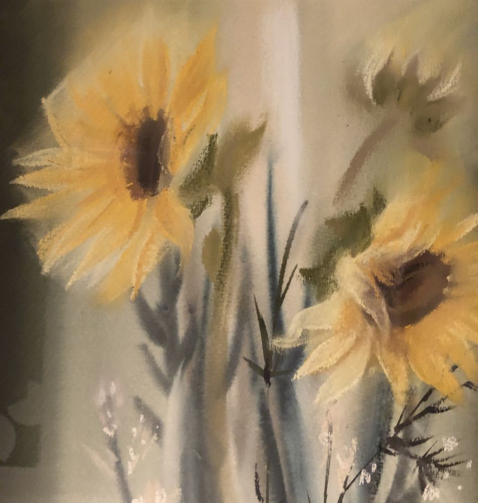 Obraz ve dřevěném rámu Slunečnice Jiřina Hantingerová